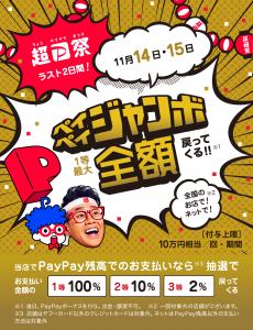 PayPay最大100%ポイントバック(上限10万円)祭り